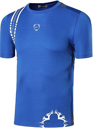 Jeansian Uomo Asciugatura Rapida Sportivo Casuale Slim Sports Fashion Tee T-Shirts Camicie LSL1052 Blue