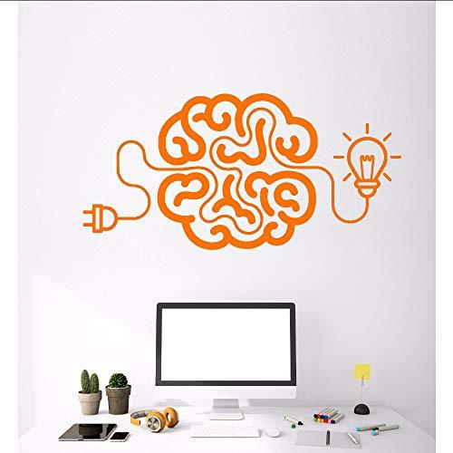 Xzfddn Vinyl Wandtattoo Kreative Cartoon Gehirn Glühbirne Idee Aufkleber Kunst Malerei Wandaufkleber