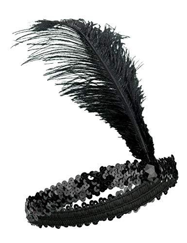 KULTFAKTOR GmbH 20er Charleston Pailetten-Stirnband mit Federn schwarz Einheitsgröße (Roaring Passt Twenties)
