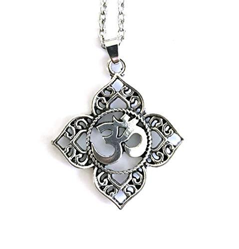 Halskette Mantra OM Sanskrit Lotusblüte - Anhänger Spirituell Yoga Buddhismus tibetisch - Medaillon Geschenk Original Damen Herren Unisex