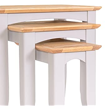 The Furniture Outlet Malvern Shaker Grey Painted Oak Nest of Tables