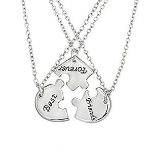 MJARTORIA Damen Mädchen Halskette Silber Farbe BFF Kette CZ Kristall Gravur Best Friends Forever Herz Puzzle Anhänger Freundschaftsketten für 4 für 3