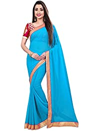 Anand Sarees Chiffon Solid Plain Saree With Lace Border And Unstitched Pink Color Jacquard Blouse Piece 1467