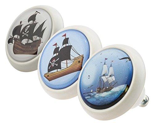 Möbelknopf Set 0191 Kinder Piraten 3er Keramik Porzellan Griffe und Knäufe für Kinder, Kinderzimmer, Schublade, Schrank, Kommode, Küche, Haus, Wohnung