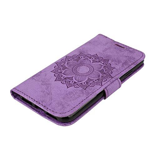 iPhone X / iPhone 10 5.8 Zoll 2017 Hülle, [Premium Leder Serie] Schutzhülle PU Leder Flip Tasche Case mit Integrierten Kartensteckplätzen und Ständer für Apple iPhone X ( + Stöpsel Staubschutz) (6) 3
