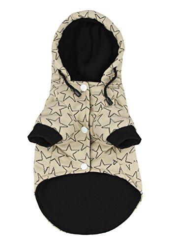 FakeFace Hundemantel Hundejacke aus Baumwolle Sterne Motiv Hundepullover mit Kapuze Hunde Winter Herbst warme Hundebekleidung Hunde Kostüm Kleidung- Gr. M, Beige (Pitbull-kostüm Hunde Für)