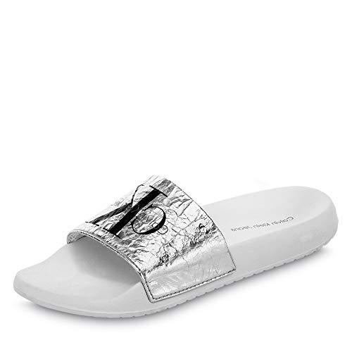Calvin Klein Jeans Calvin Klein RE9855SLV RE 9855 Chantal Damen Sportive Pantolette Textilmaterial, Groesse 41, Silber