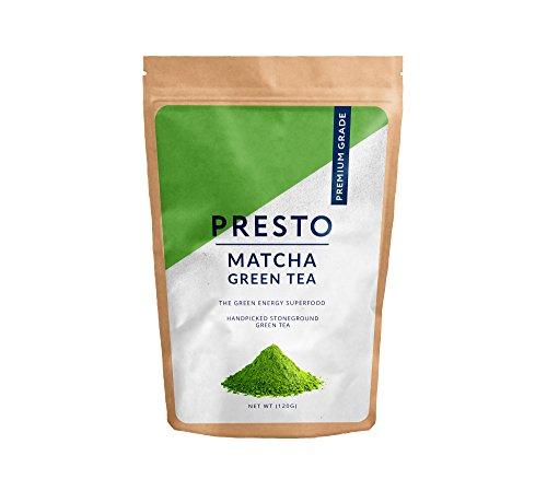 Presto Green Tea - Matcha Green Tea - Premium Grade - Handpicked and Stone Ground Superfine Tea - (1 x 120g)