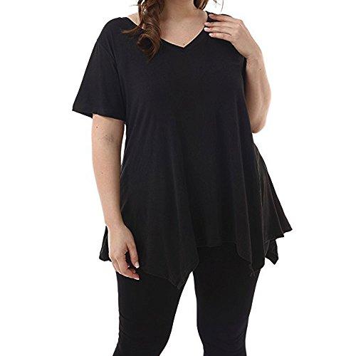 QingJiu Damen Kurzarm V Ausschnitt UnregelmäßIger Saum Lose Hemd Casual Female T Shirt Tops Oberteile (XXX-Large, ()