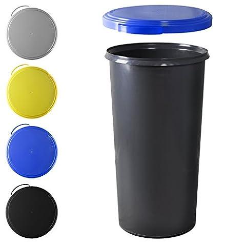 KUEFA 60L Mülleimer (ohne Ring) mit flachem Deckel (Blau)