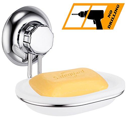 Marmor-glas-schüssel (MaxHold Saugschraube Seifenschale / Seifenhalter,Befestigen ohne bohren – Edelstahl rostet nicht – Küchen & Badezimmer Aufbewahrung)