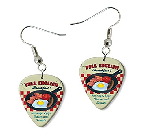 Full English Breakfast Martin Wiscombe Guitare Médiator Pick Boucles d'oreilles Earrings Vintage Retro