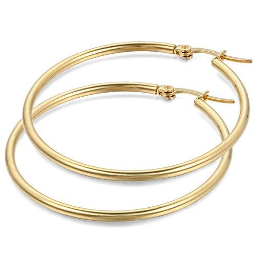 JewelryWe Schmuck Damen Ohrringe, 44mm Edelstahl große Poliert Creolen Ohrhänger, Gold