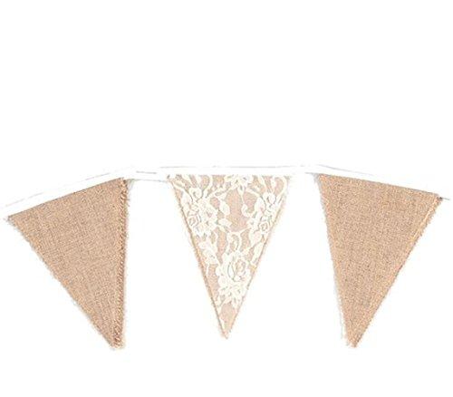 Wimagic 1 x Wimpelkette, rustikal, Jute, Süßigkeiten-Banner Kreative Vintage Party-Wimpelkette Flaggen Girlande Urlaub Hochzeit Geburtstag Party Hängende Dekoration für drinnen und draußen