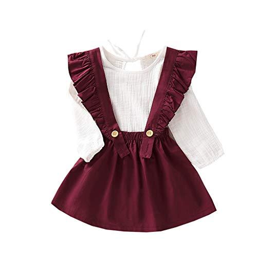 Julhold Kleinkind Baby Mädchen Lang Süß Elegant Elegant Ärmel Fest T-Shirt Tops + Overalls Röcke Outfits Sets 0-4 Jahre