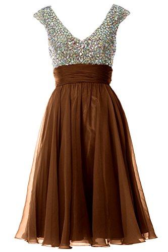MACLoth Women Cap Sleeve V Neck Crystal Chiffon Short Prom Dress Evening Gown Braun