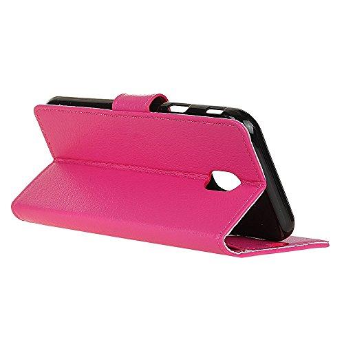 Klassische Litchi Texture PU Leder Schutzhülle Hülle Folio Flip Stand Case Cover mit Kartensteckplätzen für Samsung Galaxy J5 2017 EU Version ( Color : Black ) Rose