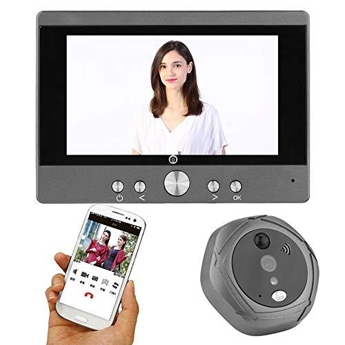 VBESTLIFE Mirilla Digital Timbre Video WiFi Inalámbrico de la Puerta 5 Pulgadas Intercomunicador Detección de Movimiento Visión Nocturna IR Vigilancia de Sguridad para el Hogar(EU pulg)