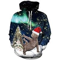 FOOBRTOPOO Novedad Navidad Suéteres de Navidad Suéter de Invierno con cordón Sudadera con Capucha Estampado de Pareja Use Sudadera Outwear -XXL/XXXL