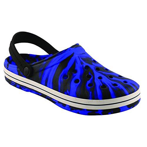 Birde PU Black & Blue Clogs for Mens & Boys