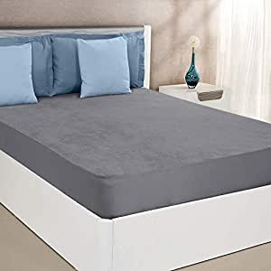 "Amazon Brand - Solimo Water Resistant Cotton Mattress Protector 78""x72"" - King Size, Grey"