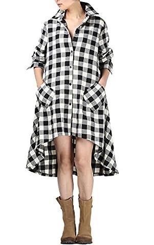 Vogstyle Femmes Nouvelle Plaid manches longues boutons Irrégulière Hem Shirt Robe Blanc XL