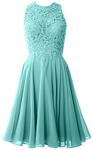 MACloth Women High Neck Lace Cocktail Dress Short Prom Homecoming Formal Gown Turquoise