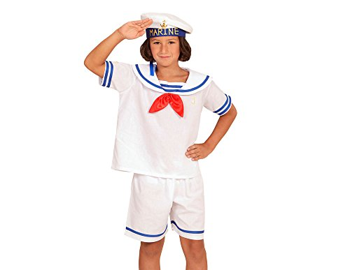WIDMANN 03104 - Kinderkostüm Retro Sailor, Oberteil, Shorts und Hut, weiß, Größe 104