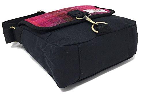 Damen oder Herren Traditionelle Harris Tweed und Canvas Messenger Bag in Farbe und Design Kirschrot