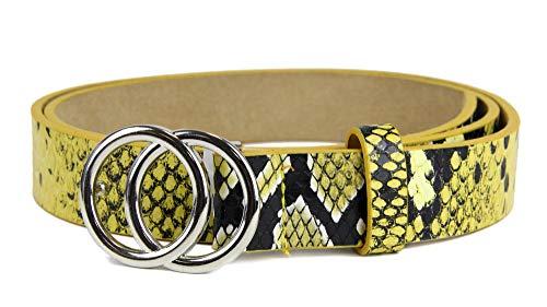 irisaa Schmaler Damen Gürtel mit runder Metallschnalle zwei Ringen, 2,8 cm breit und 0,4 cm stark, Länge:80, Farbe:GelbSnake mit Silberring
