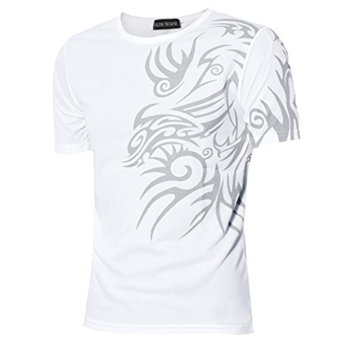 Uomo T-Shirt,Amlaiworld nuova manica corta t-shirt uomo sport Tees Bianco