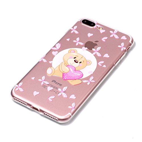"""Hülle für Apple iPhone 7 Plus , IJIA Transparente Donuts TPU Weich Silikon Stoßkasten Cover Handyhülle Schutzhülle Handytasche Schale Case Tasche für Apple iPhone 7 Plus (5.5"""") XY18"""