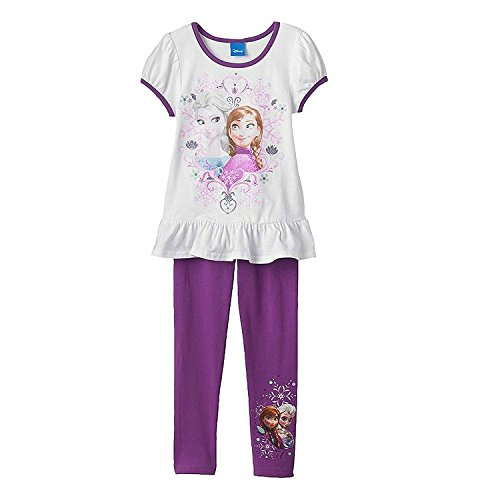 Disney Frozen Anna Elsa Top Tee Shirt and Leggings Set Little Girls' (4) (Girls Puff Top Sleeve)