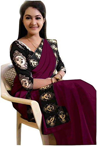 Pure Chanderi cotton purple and Black color saree with printed blouse piece