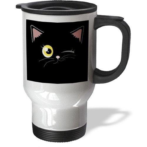 liandun mignon chat noir avec yeux orange clin 14-Ounce Tasse de voyage en acier inoxydable