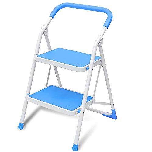 HEMFV Stabiler Trittleiter Multifunktions tragbarer Hocker Haushalt Folding Herringbone Leiter Dual-Use-Ladder-Bank leicht zu Falten (Color : Blue)