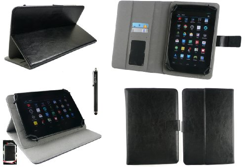 l Android Google Tablet PC Universalbereich Schwarz Multi Winkel Folio Executive Case Cover Wallet Hülle Schutzhülle mit Kartensteckplätze + Schwarz Eingabestift ()