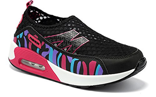 NEWZCERS Mesdames été respirant fitness work out slip-on chaussures de camouflage plate-forme Noir