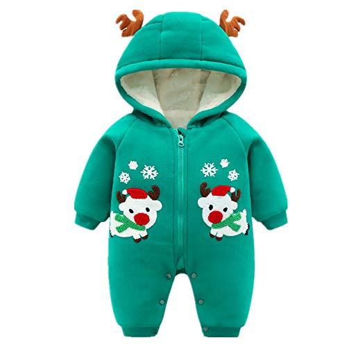 (ZAMAC Unisex Baby Strampler mit Kapuze Weihnachten Elch Muster mit Hut Schal Baumwolle Neugeborenen Winter Overall in Einem Schneeanzug Outfits Bodysuit)