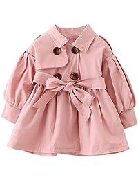 Hawkimin Baby Mädchen Einfarbig Sweatjacke Prinzessin Gürtel Knöpfe Trench Tops Outfits Kleidung Outerwear