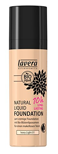 lavera Natural Liquid Foundation Makeup ∙ Farbe Ivory Light Hautfarbe ∙ 10h Long Lasting ∙ Natural & innovative Make up ✔ vegan ✔ Bio Pflanzenwirkstoffe ✔ Naturkosmetik ✔ Teint Kosmetik 1er Pack (1 x 30 ml)