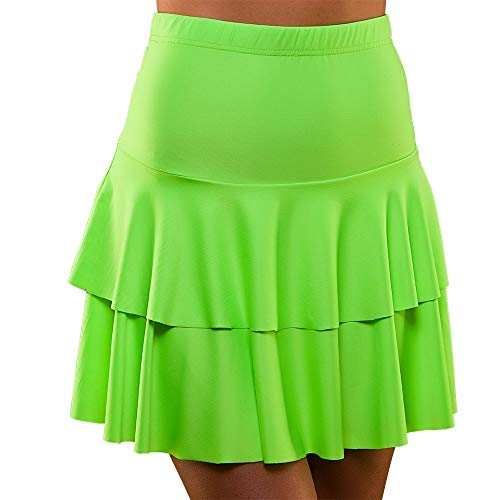 Unbekannt 80's Neon Ra Ra Skirt Green Small and Extra Small for Fancy Dress Costume