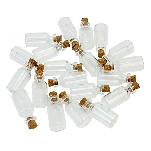 Lot de 20 New Tiny Couvercle en liège Bocaux en verre transparent avec bouchons en liège Message bouteilles à épices perles graines de rangement Décoration maison Wish Bijoux Fête 5 ml fioles