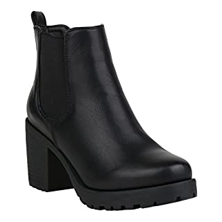 Stiefelparadies Damen Stiefeletten Chelsea Boots Gefütterte Booties Leder-Optik Schuhe Mid Heels Profilsohle 125256 Schwarz Glatt 37 Flandell