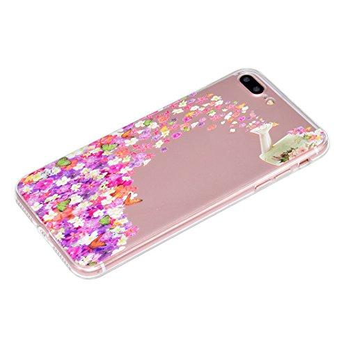 "2 x Coque iPhone 7 Plus Silicone Housse,Etui iPhone 7 Plus Gel Transparente Case Cover Rosa Schleife® 5.5"" Apple iPhone 7 Plus TPU Silicone Gel Souple Case Coque de Protection Portable Smartphone poch 56-style"