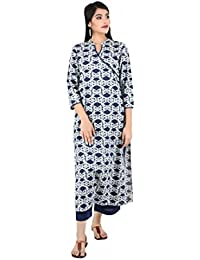 ANAYNA Women's Cotton Printed Angarkha Style Long Straight Kurta (Blue)