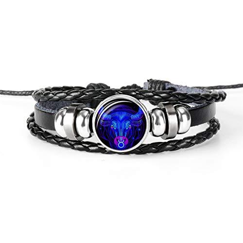 Premium Woven Holz (Daawqee Premium Armband, 12 Constellation Zodiac Sign Black Braided Leather Bracelet Cancer Leo Virgo Libra Woven Glass Dome Jewelry Punk Men Bracelet Taurus)