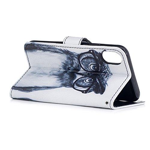 Cover iphone x, Alfort 2 in 1 Custodia Alta qualità Cuoio Flip Stand Case per la Custodia iphone x Ci sono Funzioni di Supporto e Portafoglio ( Blu ) 5,8 pollici Gufo