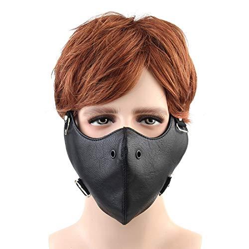 JOYIYUAN Einfache Motocycle Anti staubmaske halbe Gesicht Gothic niet Steampunk Biker männer Cosplay Airsoft Wind Coole Punk Maskerade Maske (Farbe : (Racing Kostüm Für Männer)