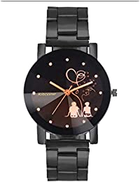 Horse Head Analogue Multi Colour Dial Black Metal Strap Diamond Cut Glass Women's & Girl's Watches - Sl